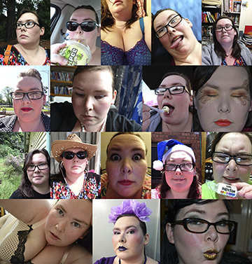 A big collage of my selfies!  I am: looking off to the side, drinking a slurpee in the car, showing off a new bra, poking my tongue out, smiling in front of books, wearing makeup and a quiff, looking downcast, eating ice cream, displaying elaborate eye makeup, smiling outdoors, wearing a hat and sunglasses, bug eyed in smeared makeup, wearing a blue santa hat, looking dismayed by One Direction branded conversation hearts, showing off another bra, wearing purple makeup and a floral headdress, wearing gold lipstick and making a kissy face.